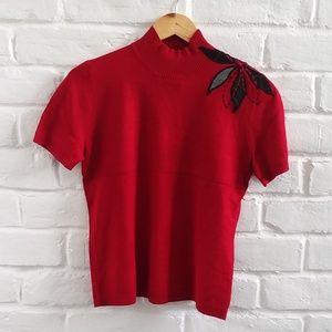 Red Short Sleeve Turtleneck Knit Top Sweatshirt S